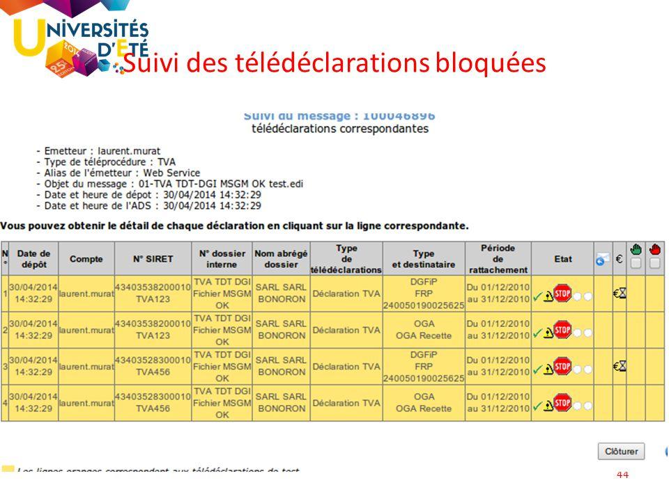 44 Suivi des télédéclarations bloquées
