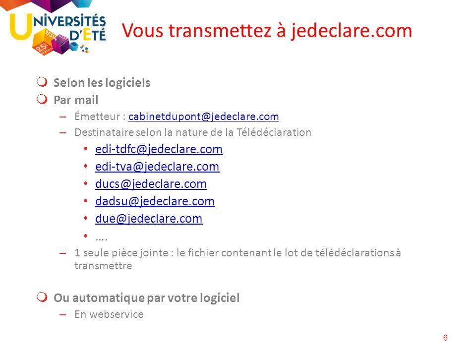 6  Selon les logiciels  Par mail – Émetteur : cabinetdupont@jedeclare.comcabinetdupont@jedeclare.com – Destinataire selon la nature de la Télédéclar
