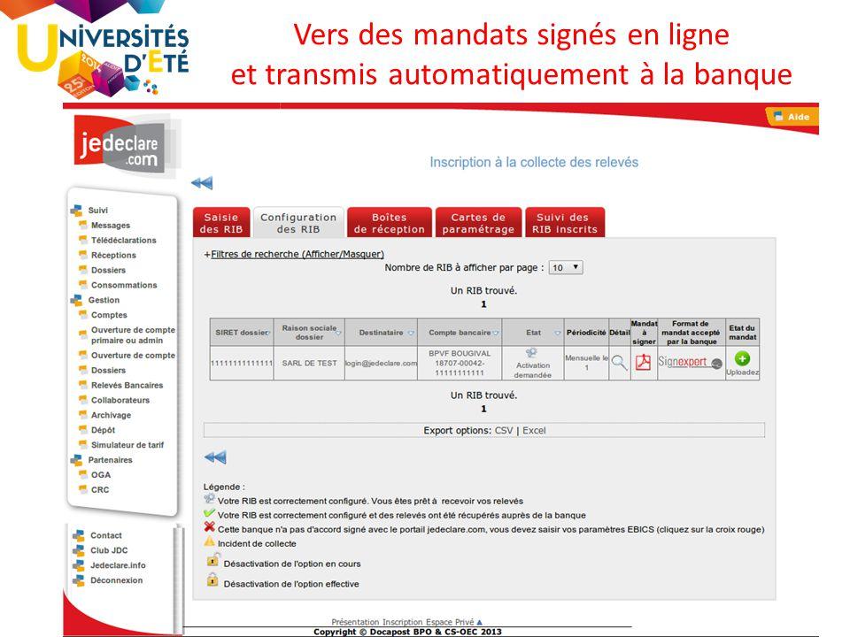 69 Vers des mandats signés en ligne et transmis automatiquement à la banque