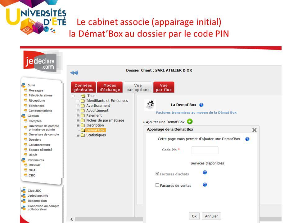 76 Le cabinet associe (appairage initial) la Démat'Box au dossier par le code PIN