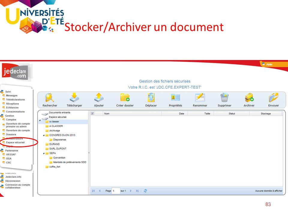 83 Stocker/Archiver un document