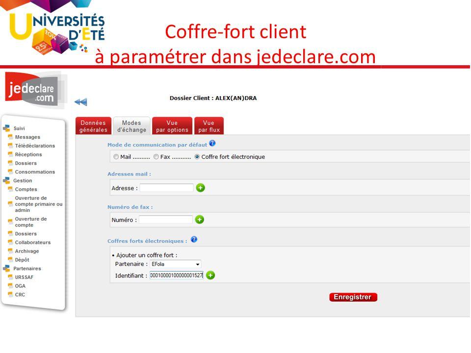 86 Coffre-fort client à paramétrer dans jedeclare.com