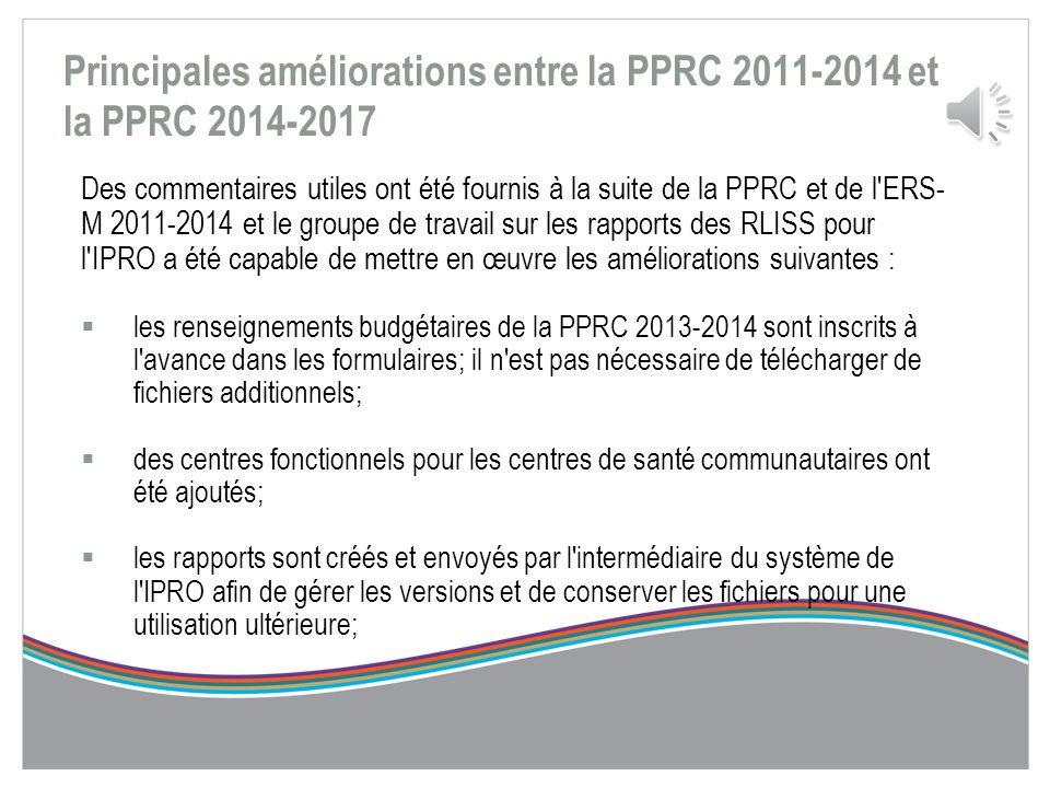 Amélioration de la PPRC La rétroaction des FSS et des RLISS a permis de cerner les thèmes importants suivants :  la simplification des formulaires; 