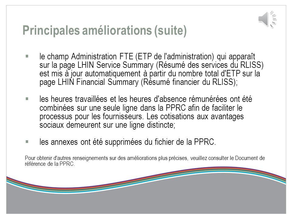 Principales améliorations (suite)  des lignes supplémentaires ont été ajoutées à la page Identification afin de permettre la communication des modifi