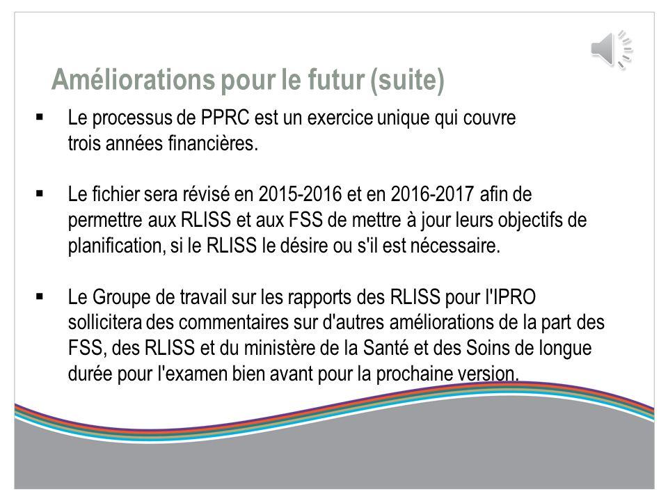Améliorations pour le futur  Le groupe de travail sur les rapports des RLISS pour l'IPRO a reçu beaucoup de bonnes idées d'amélioration de la PPRC de