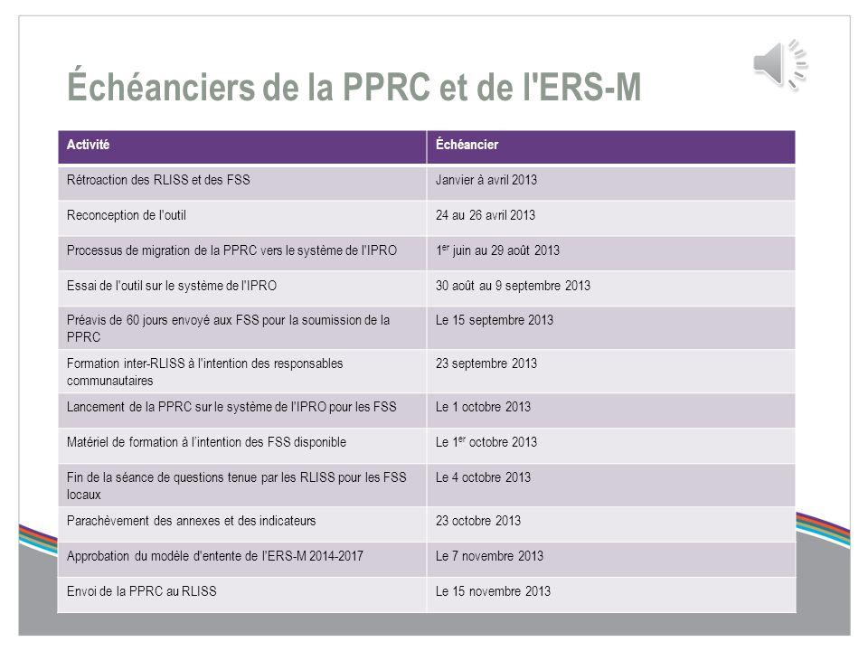 Processus d'ERS-M et de la PPRC  La PPRC tout comme l'ERS-M favorisent une responsabilisation accrue grâce à une planification et à des prévisions fi