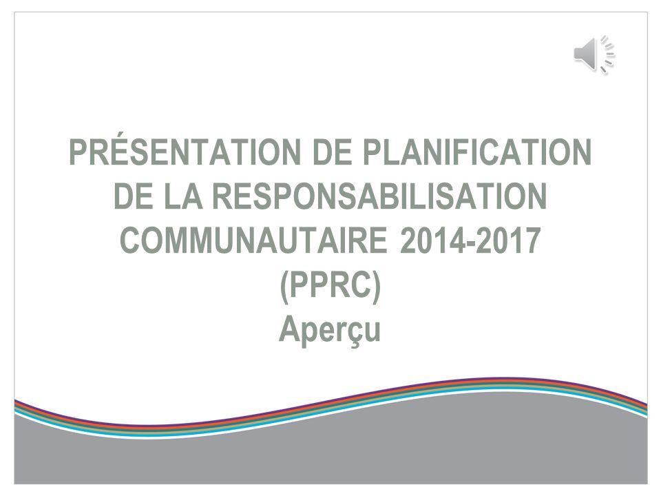 Échéanciers de la PPRC et de l'ERS-M ActivitéÉchéancier Rétroaction des RLISS et des FSSJanvier à avril 2013 Reconception de l'outil24 au 26 avril 201