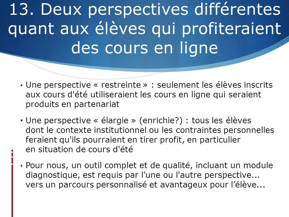 13. Deux perspectives différentes quant aux élèves qui profiteraient des cours en ligne Une perspective « restreinte » : seulement les élèves inscrits