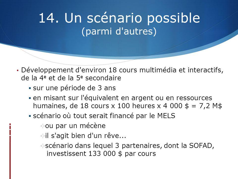 14. Un scénario possible (parmi d'autres) Développement d'environ 18 cours multimédia et interactifs, de la 4 e et de la 5 e secondaire  sur une péri
