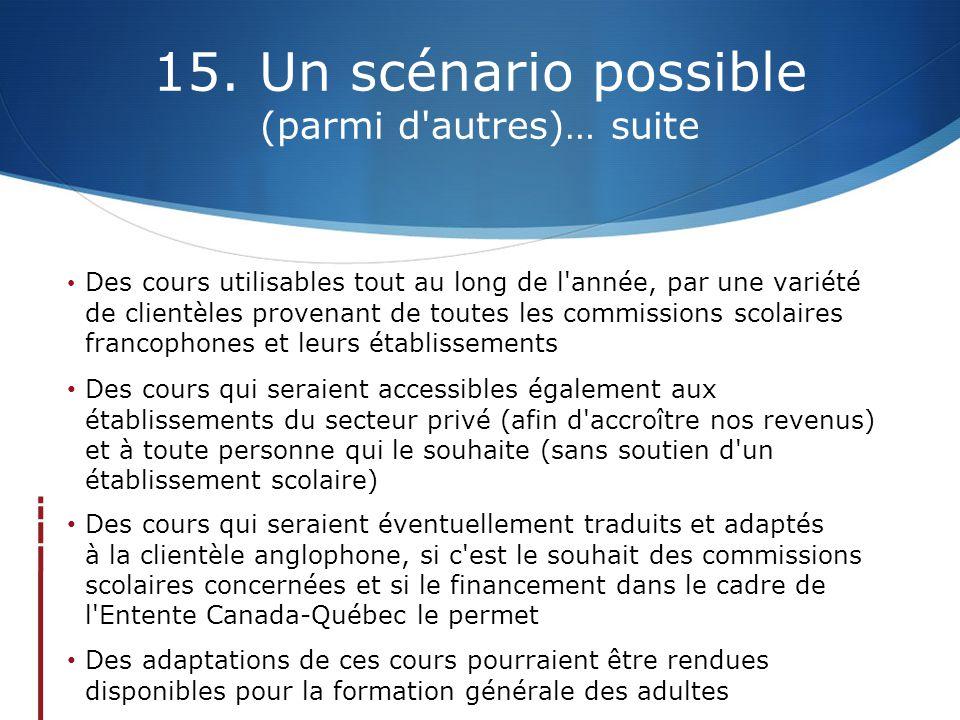 15. Un scénario possible (parmi d'autres)… suite Des cours utilisables tout au long de l'année, par une variété de clientèles provenant de toutes les