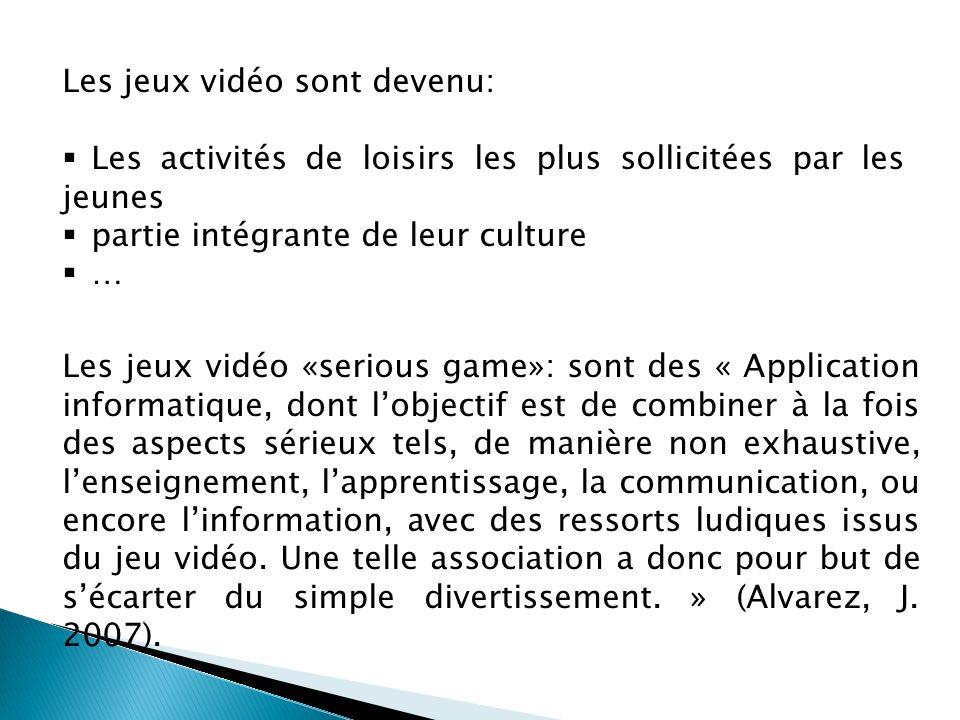 Les jeux vidéo sont devenu:  Les activités de loisirs les plus sollicitées par les jeunes  partie intégrante de leur culture  … Les jeux vidéo «ser