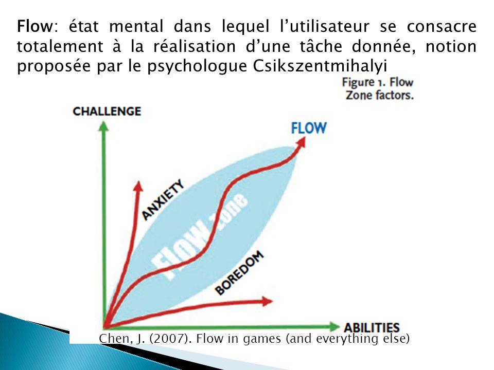Flow: état mental dans lequel l'utilisateur se consacre totalement à la réalisation d'une tâche donnée, notion proposée par le psychologue Csikszentmi