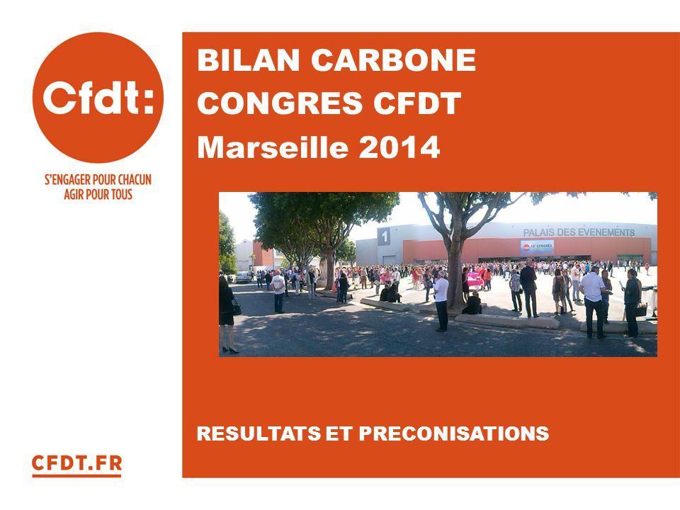 BILAN CARBONE CONGRES CFDT Marseille 2014 RESULTATS ET PRECONISATIONS