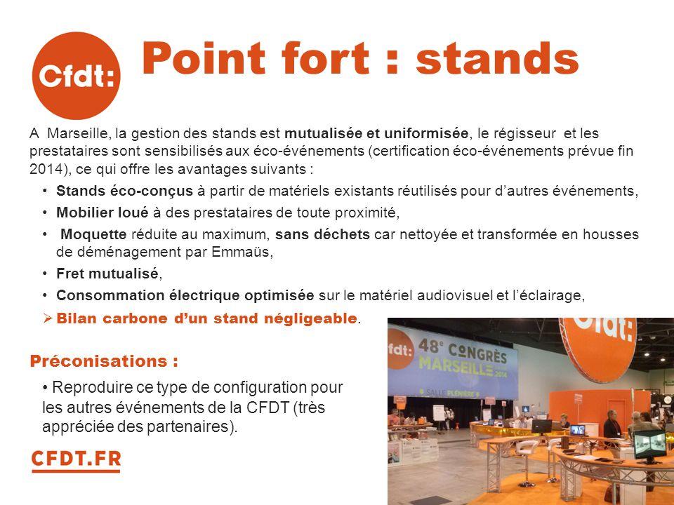 Point fort : stands A Marseille, la gestion des stands est mutualisée et uniformisée, le régisseur et les prestataires sont sensibilisés aux éco-événe