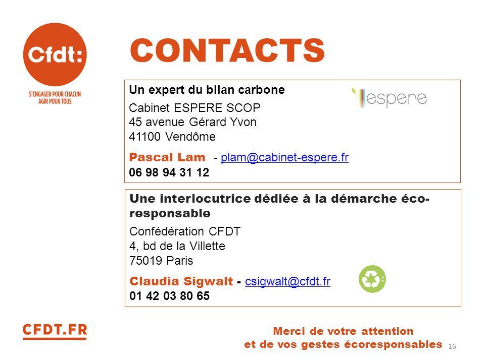 Merci de votre attention et de vos gestes écoresponsables Un expert du bilan carbone Cabinet ESPERE SCOP 45 avenue Gérard Yvon 41100 Vendôme Pascal La