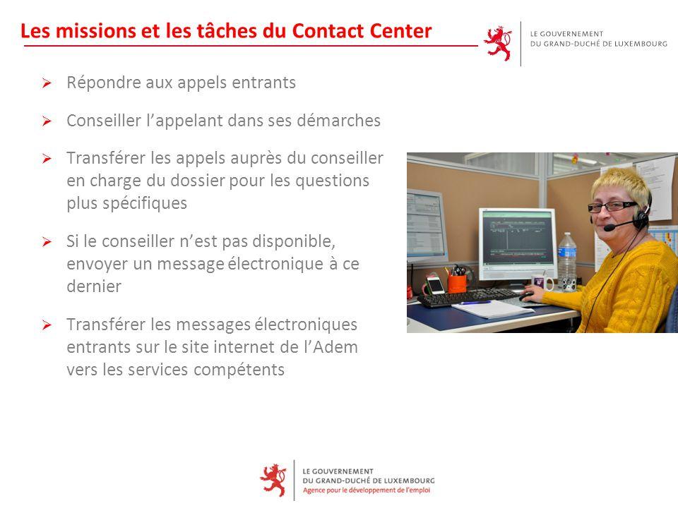 Les missions et les tâches du Contact Center  Répondre aux appels entrants  Conseiller l'appelant dans ses démarches  Transférer les appels auprès
