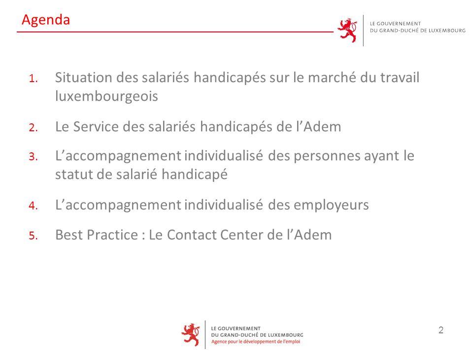Agenda 1. Situation des salariés handicapés sur le marché du travail luxembourgeois 2. Le Service des salariés handicapés de l'Adem 3. L'accompagnemen