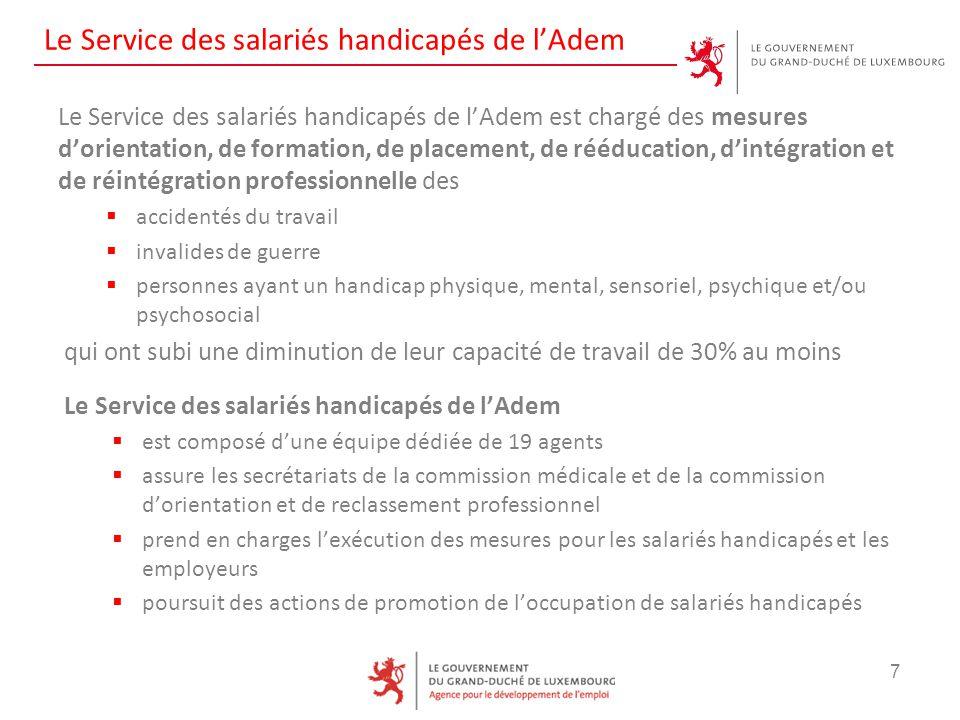 Le Service des salariés handicapés de l'Adem Le Service des salariés handicapés de l'Adem est chargé des mesures d'orientation, de formation, de place