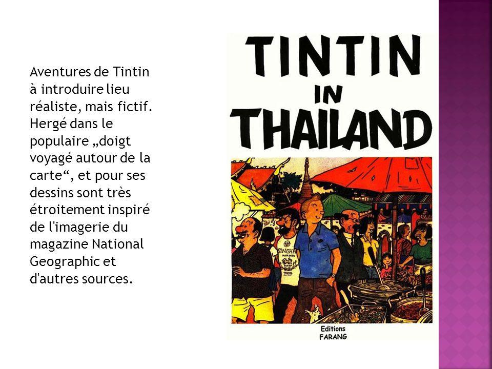 """Aventures de Tintin à introduire lieu réaliste, mais fictif. Hergé dans le populaire """"doigt voyagé autour de la carte"""", et pour ses dessins sont très"""