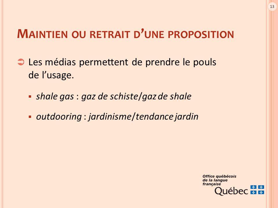 13 M AINTIEN OU RETRAIT D ' UNE PROPOSITION  Les médias permettent de prendre le pouls de l'usage.  shale gas : gaz de schiste/gaz de shale  outdoo