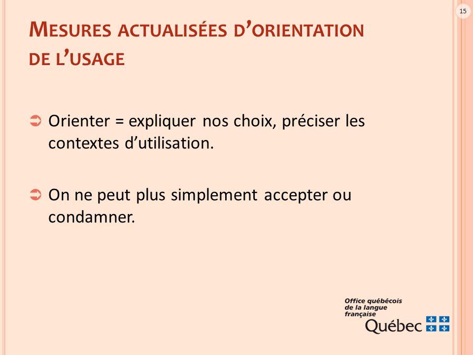 15 M ESURES ACTUALISÉES D ' ORIENTATION DE L ' USAGE  Orienter = expliquer nos choix, préciser les contextes d'utilisation.