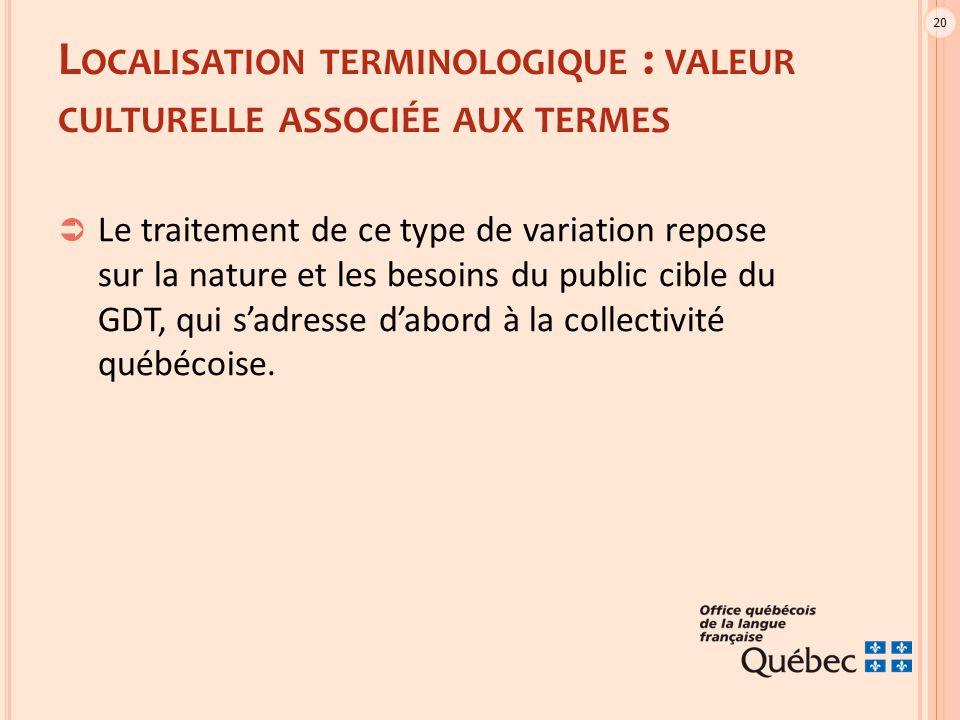 20 L OCALISATION TERMINOLOGIQUE : VALEUR CULTURELLE ASSOCIÉE AUX TERMES  Le traitement de ce type de variation repose sur la nature et les besoins du public cible du GDT, qui s'adresse d'abord à la collectivité québécoise.