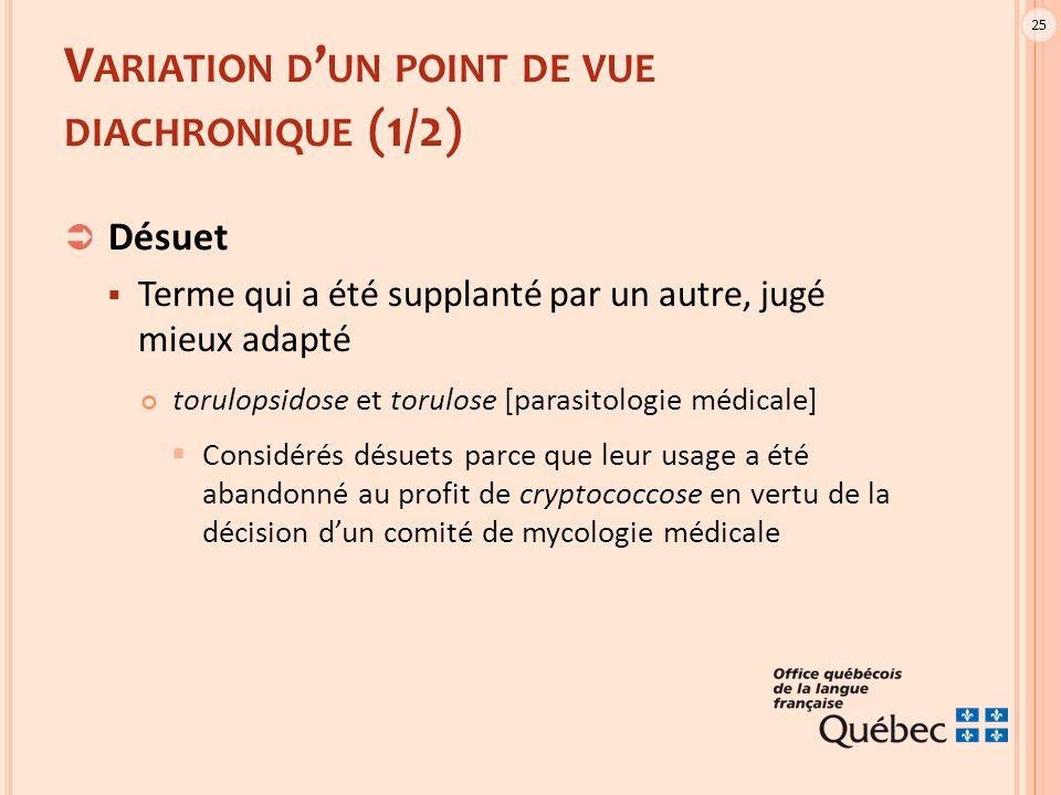 25 V ARIATION D ' UN POINT DE VUE DIACHRONIQUE (1/2)  Désuet  Terme qui a été supplanté par un autre, jugé mieux adapté torulopsidose et torulose [p