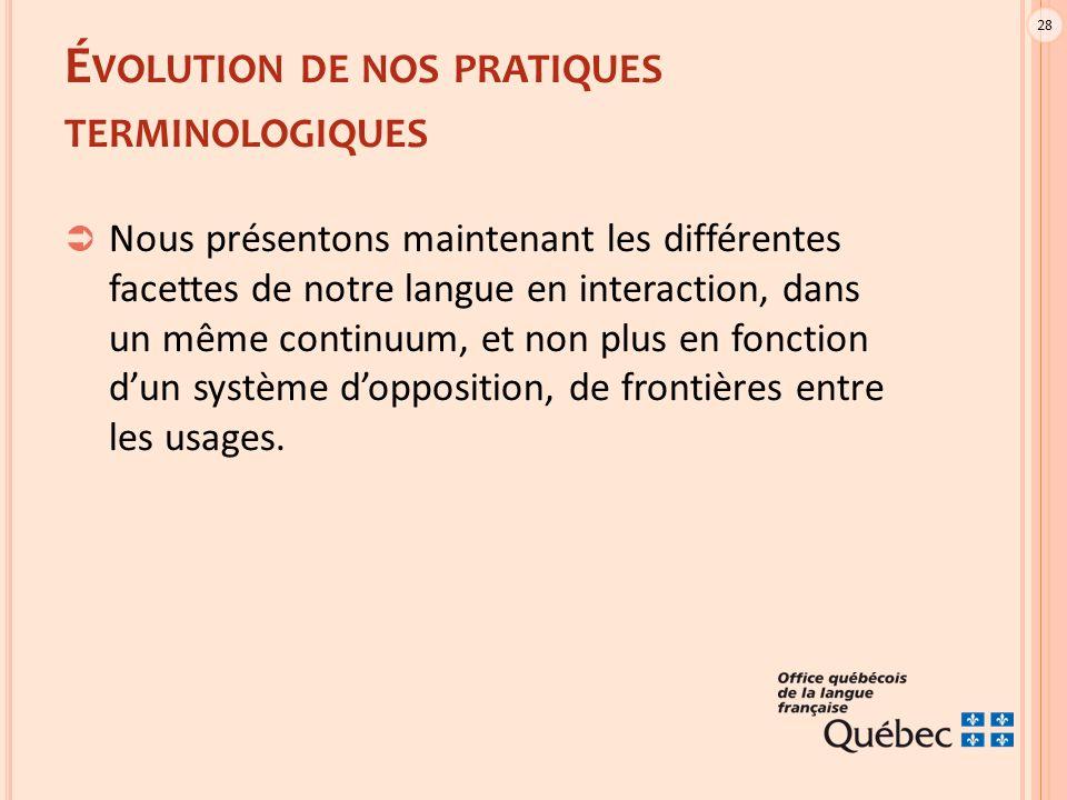 28 É VOLUTION DE NOS PRATIQUES TERMINOLOGIQUES  Nous présentons maintenant les différentes facettes de notre langue en interaction, dans un même continuum, et non plus en fonction d'un système d'opposition, de frontières entre les usages.
