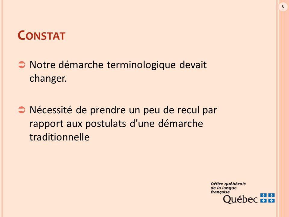 9 V IRAGE GRADUEL  Troquer l'image de censeur pour une image de guide raisonnable et avisé, en vue d'élaborer une norme linguistique au Québec.