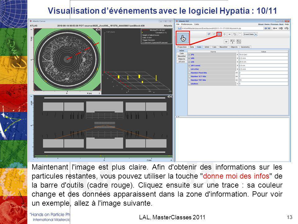 Visualisation d'événements avec le logiciel Hypatia : 10/11 LAL, MasterClasses 2011 13 Maintenant l image est plus claire.