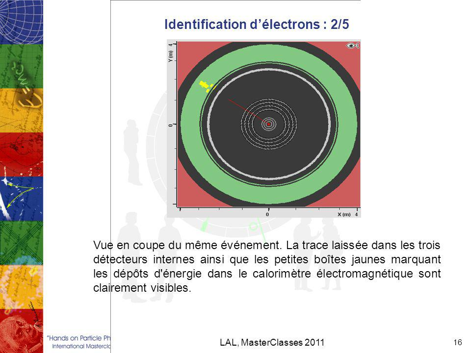 Identification d'électrons : 2/5 LAL, MasterClasses 2011 16 Vue en coupe du même événement.