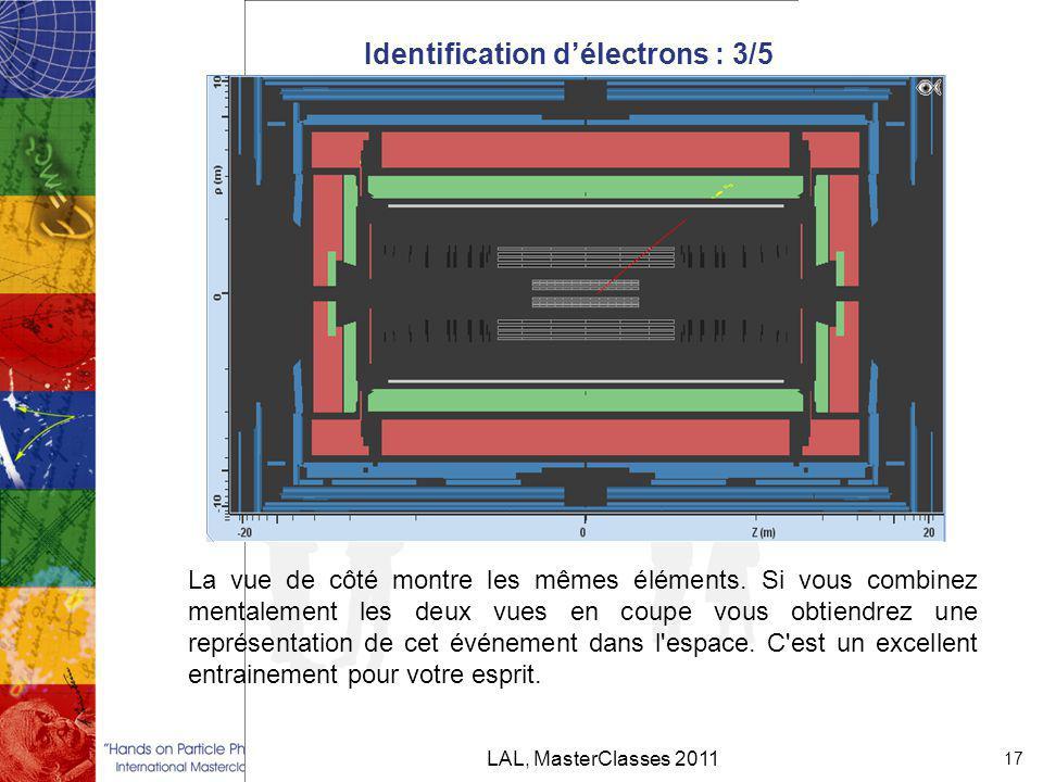 Identification d'électrons : 3/5 LAL, MasterClasses 2011 17 La vue de côté montre les mêmes éléments.