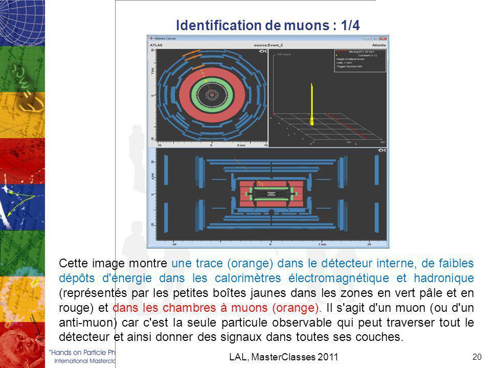 Identification de muons : 1/4 LAL, MasterClasses 2011 20 Cette image montre une trace (orange) dans le détecteur interne, de faibles dépôts d énergie dans les calorimètres électromagnétique et hadronique (représentés par les petites boîtes jaunes dans les zones en vert pâle et en rouge) et dans les chambres à muons (orange).