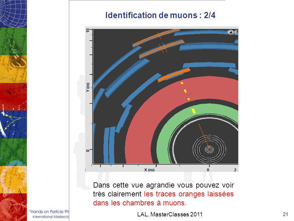 Identification de muons : 2/4 LAL, MasterClasses 2011 21 Dans cette vue agrandie vous pouvez voir très clairement les traces oranges laissées dans les chambres à muons.