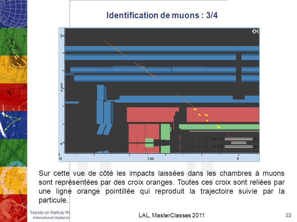 Identification de muons : 3/4 LAL, MasterClasses 2011 22 Sur cette vue de côté les impacts laissées dans les chambres à muons sont représentées par des croix oranges.
