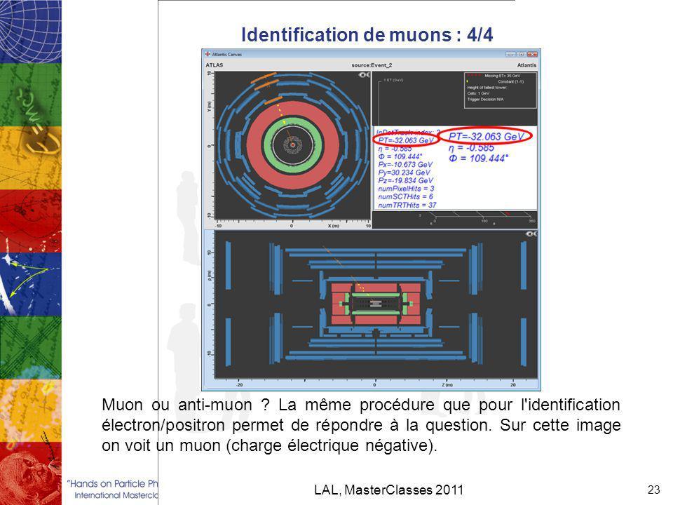 Identification de muons : 4/4 LAL, MasterClasses 2011 23 Muon ou anti-muon .