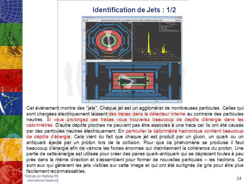 Identification de Jets : 1/2 24 Cet événement montre des jets .