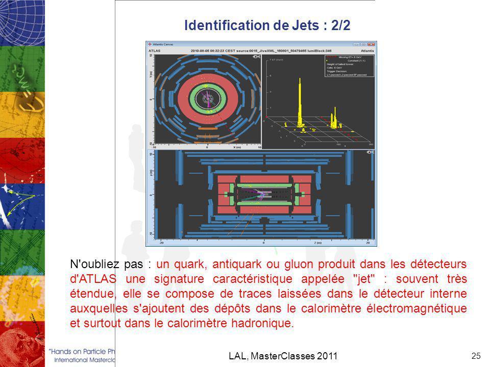 Identification de Jets : 2/2 LAL, MasterClasses 2011 25 N oubliez pas : un quark, antiquark ou gluon produit dans les détecteurs d ATLAS une signature caractéristique appelée jet : souvent très étendue, elle se compose de traces laissées dans le détecteur interne auxquelles s ajoutent des dépôts dans le calorimètre électromagnétique et surtout dans le calorimètre hadronique.