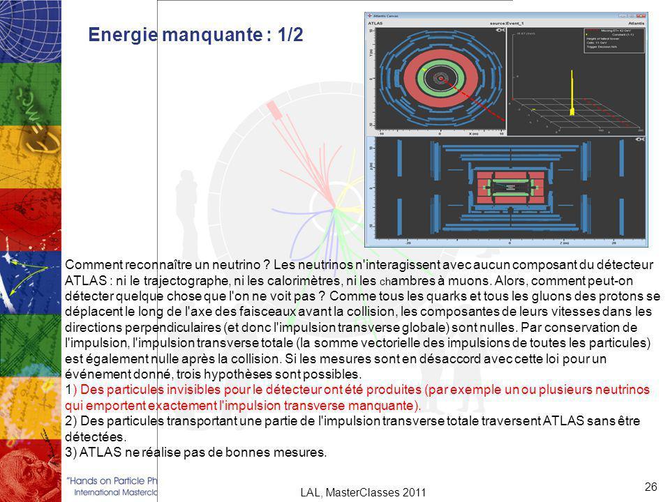 Energie manquante : 1/2 26 LAL, MasterClasses 2011 Comment reconnaître un neutrino .