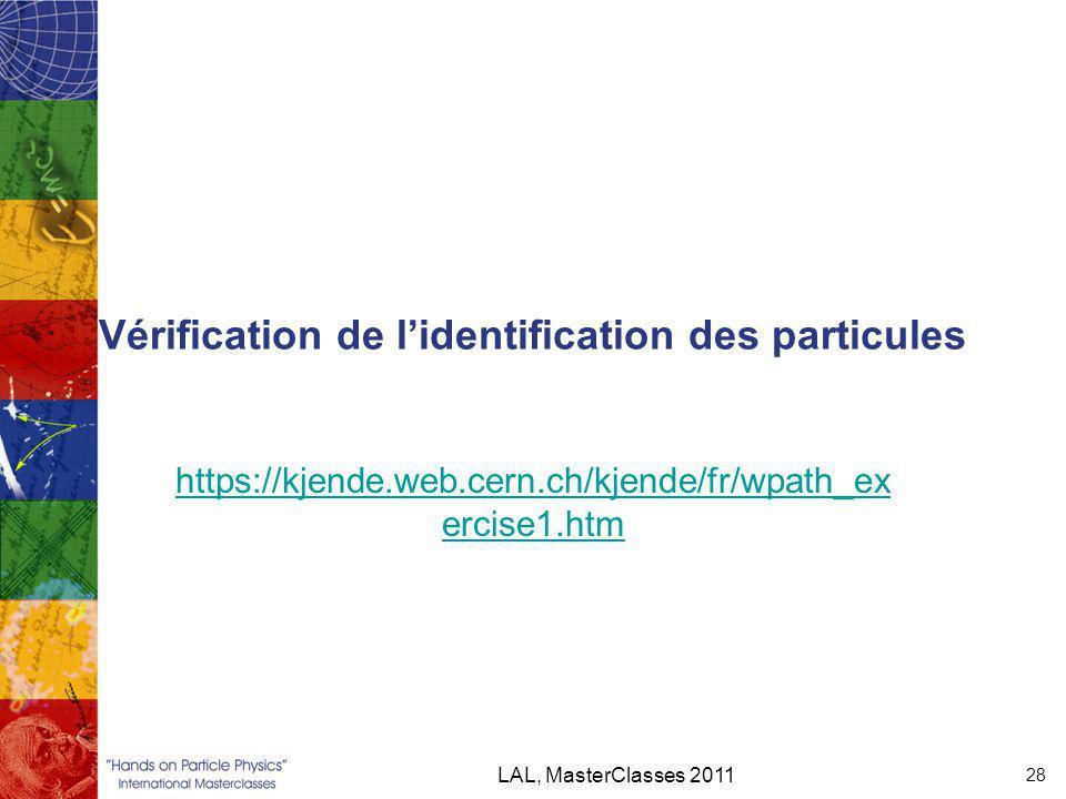 Vérification de l'identification des particules https://kjende.web.cern.ch/kjende/fr/wpath_ex ercise1.htm LAL, MasterClasses 2011 28