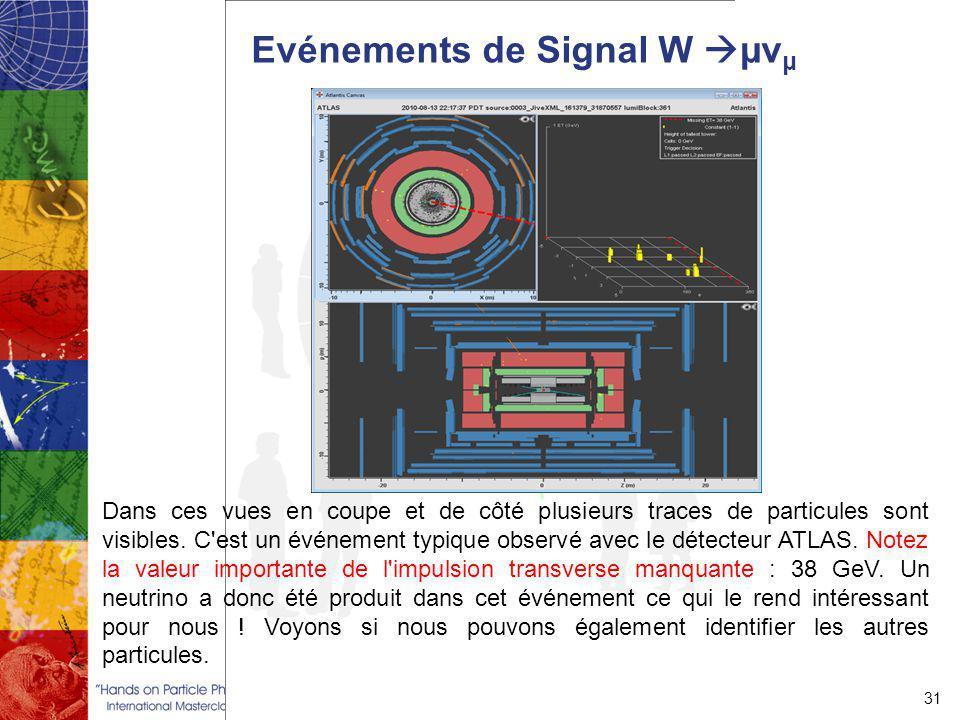 Evénements de Signal W  µν μ 31 Dans ces vues en coupe et de côté plusieurs traces de particules sont visibles.