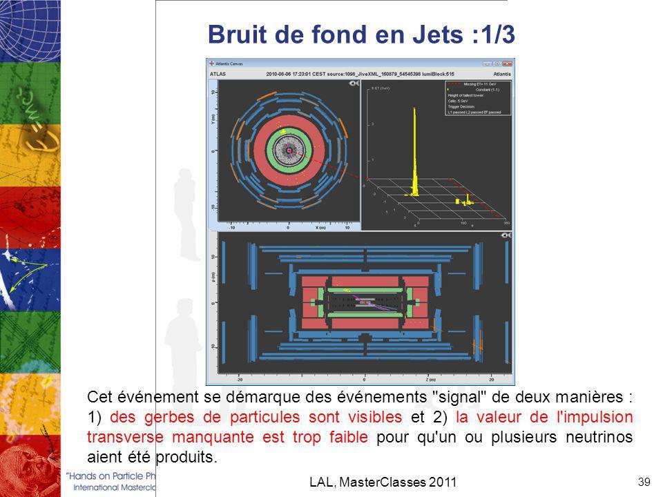 Bruit de fond en Jets :1/3 LAL, MasterClasses 2011 39 Cet événement se démarque des événements signal de deux manières : 1) des gerbes de particules sont visibles et 2) la valeur de l impulsion transverse manquante est trop faible pour qu un ou plusieurs neutrinos aient été produits.