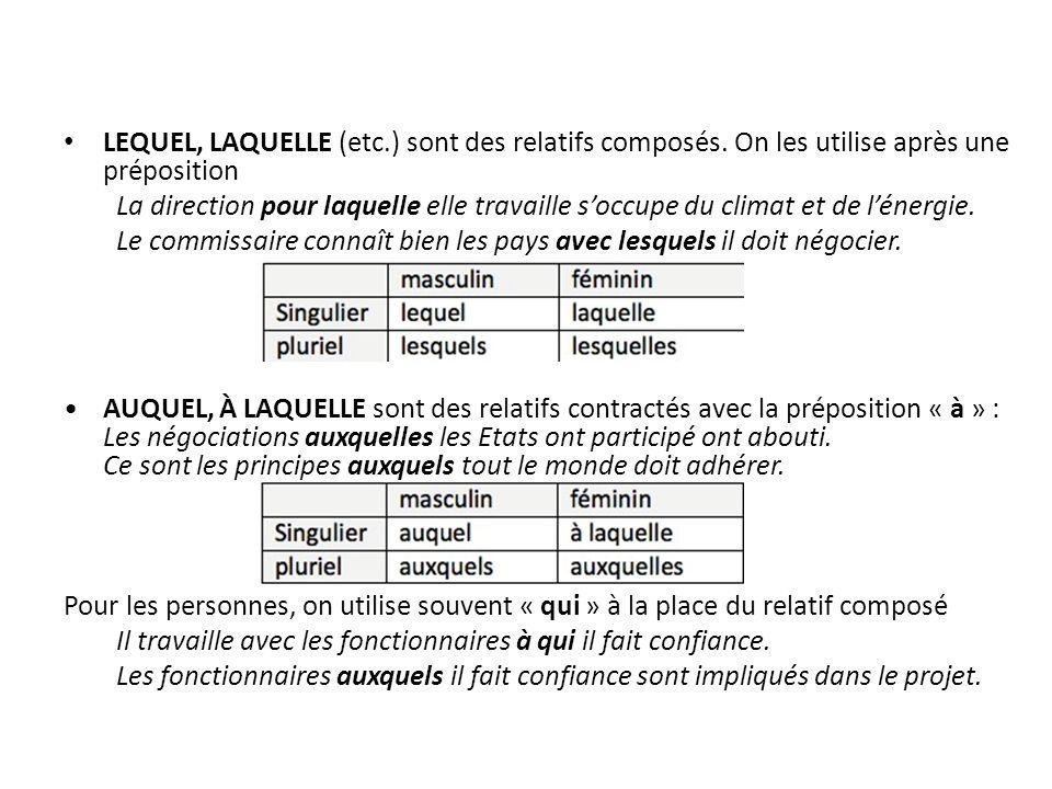 LEQUEL, LAQUELLE (etc.) sont des relatifs composés.