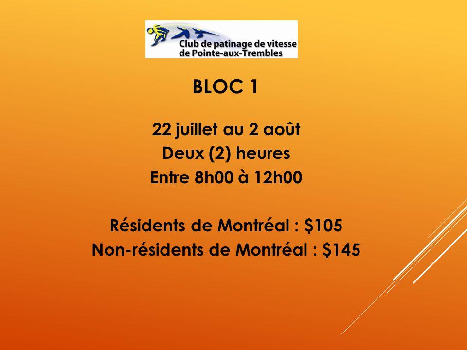 BLOC 1 22 juillet au 2 août Deux (2) heures Entre 8h00 à 12h00 Résidents de Montréal : $105 Non-résidents de Montréal : $145