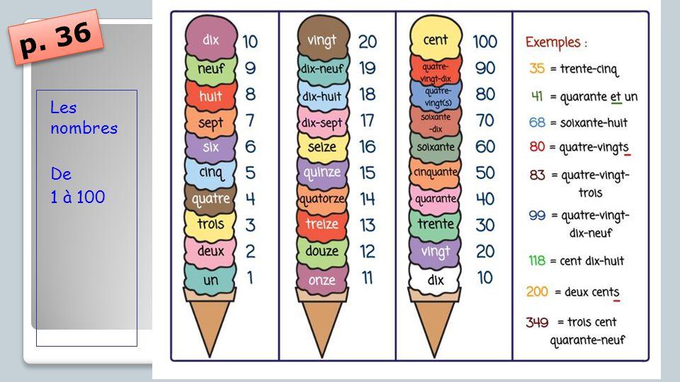 Les nombres De 1 à 100 p. 36