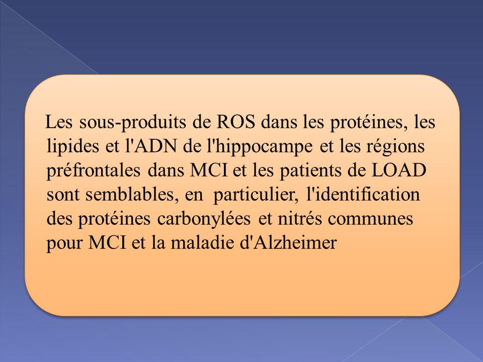 Les sous-produits de ROS dans les protéines, les lipides et l ADN de l hippocampe et les régions préfrontales dans MCI et les patients de LOAD sont semblables, en particulier, l identification des protéines carbonylées et nitrés communes pour MCI et la maladie d Alzheimer