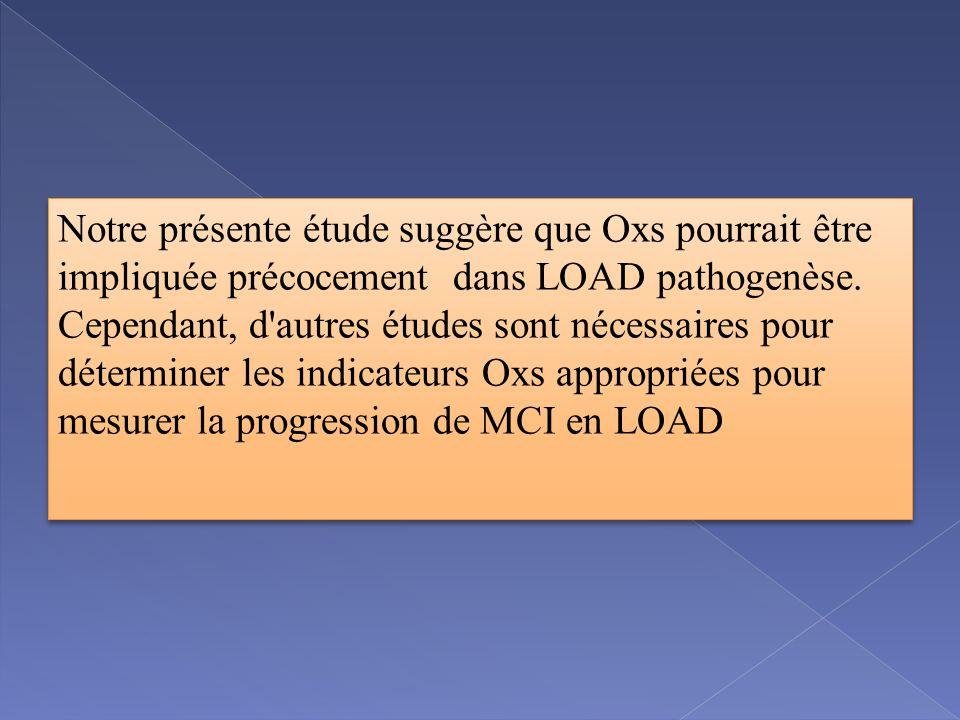 Notre présente étude suggère que Oxs pourrait être impliquée précocement dans LOAD pathogenèse.
