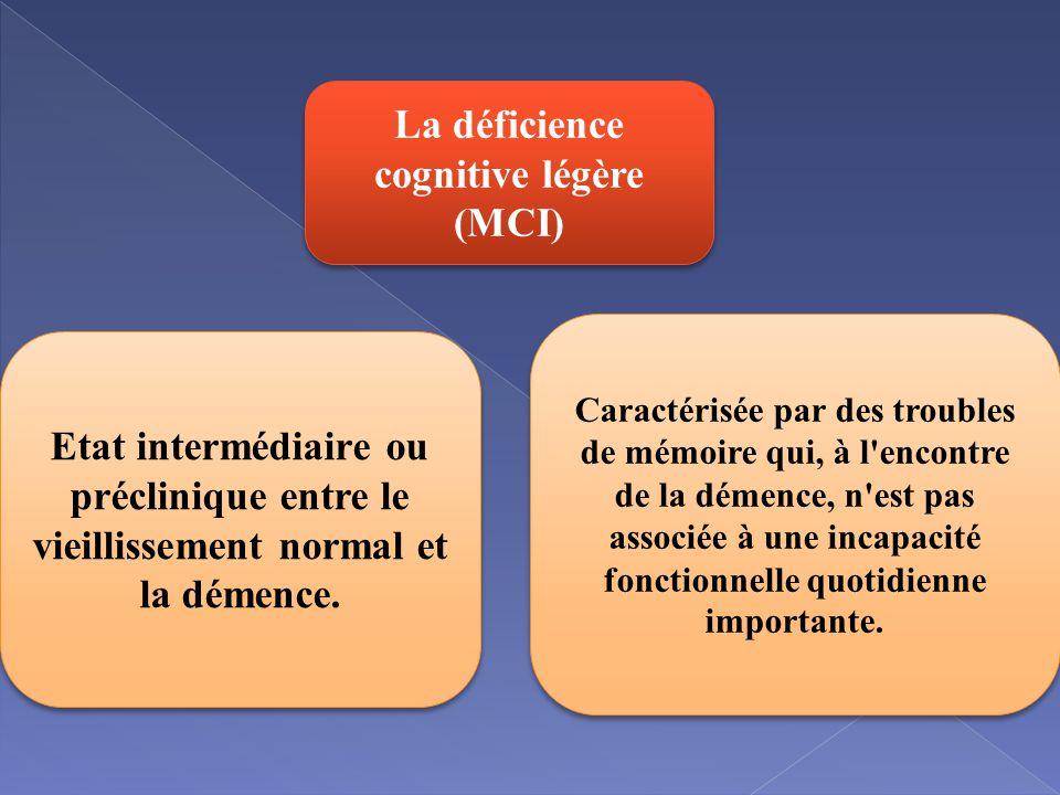 La déficience cognitive légère (MCI) Etat intermédiaire ou préclinique entre le vieillissement normal et la démence.