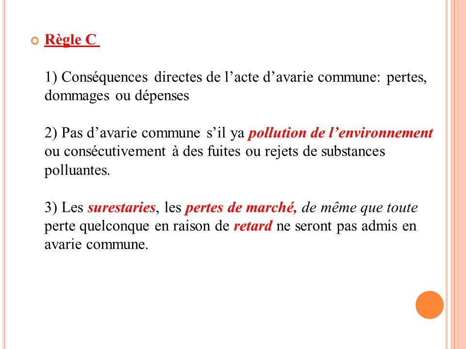 Règle C 1) Conséquences directes de l'acte d'avarie commune: pertes, dommages ou dépenses 2) Pas d'avarie commune s'il ya pollution de l'environnement