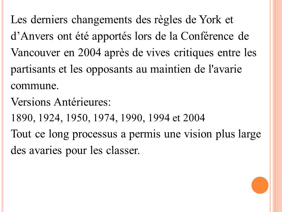Les derniers changements des règles de York et d'Anvers ont été apportés lors de la Conférence de Vancouver en 2004 après de vives critiques entre les